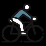 Piktogramm eines Radfahrers.