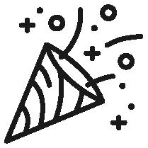 Piktogramm einer Konfettikanone.